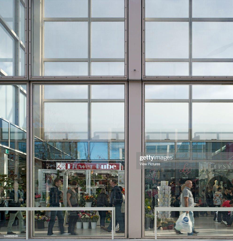 Shopping Centre, 24 Silbury Arcade, Milton Keynes, Buckinghamshire, United Kingdom, Architect: Derek Walker, 1979, Shopping Centre, Derek Walker Architects, Milton Keynes, Uk, 1979, Glazing Detail With Shoppers