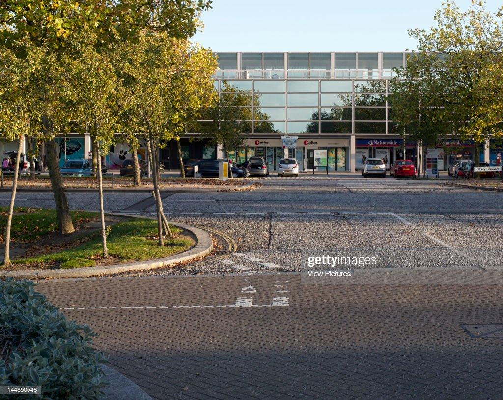 Shopping Centre, 24 Silbury Arcade, Milton Keynes, Buckinghamshire, United Kingdom, Architect: Derek Walker, 1979, Shopping Centre, Derek Walker Architects, Milton Keynes, Uk, 1979, View From Road
