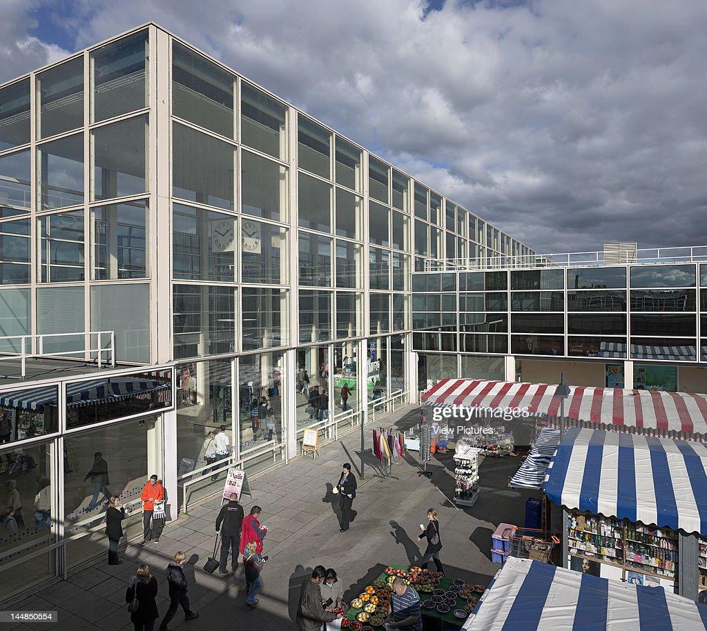 Shopping Centre, 24 Silbury Arcade, Milton Keynes, Buckinghamshire, United Kingdom, Architect: Derek Walker, 1979, Shopping Centre, Derek Walker Architects, Milton Keynes, Uk, 1979, Exterior With Market