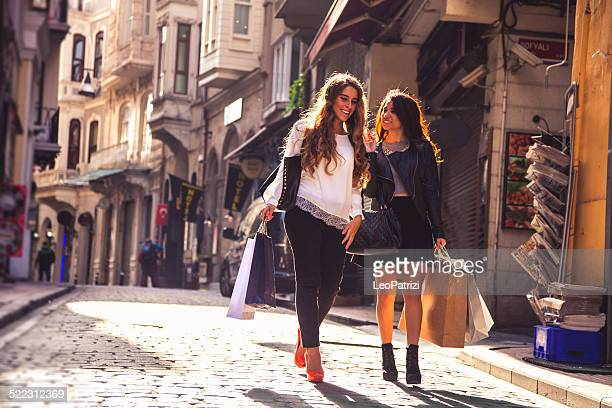 Shopping friends in the streets