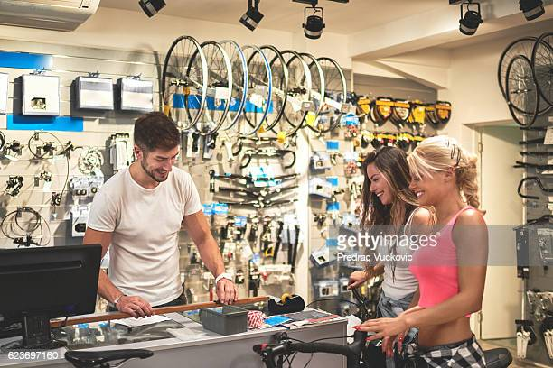Shopping in bicycle store