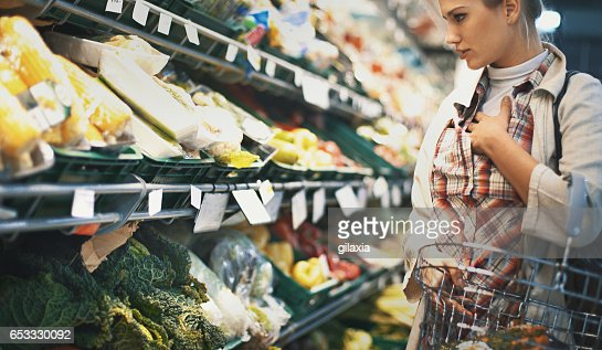 Shopping in supermarket. : Stock Photo
