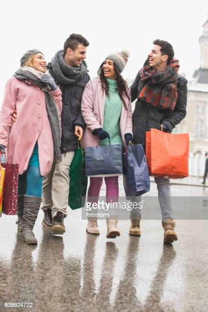 Shopping in the city with friends
