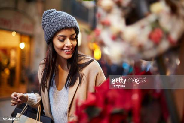 Shopping in the street, christmas time.