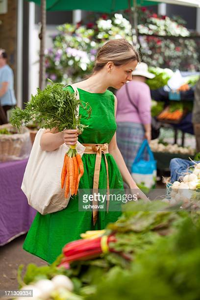 Shopping inside a farmers market