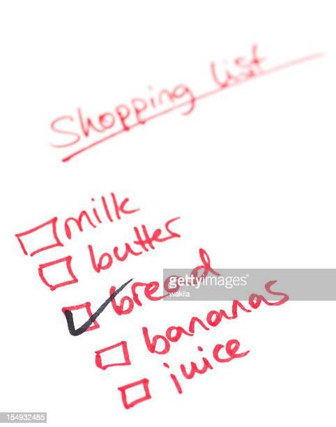 shopping list - Einkaufsliste