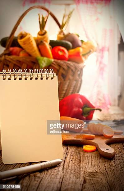 Einkaufszettel mit Obst und Gemüse