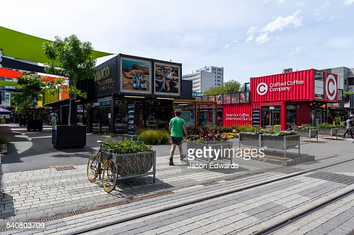Shopping mall and cafes made from shipping containers after an earthquake destroyed buildings.