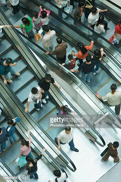 Shopping mall escalators, high angle view