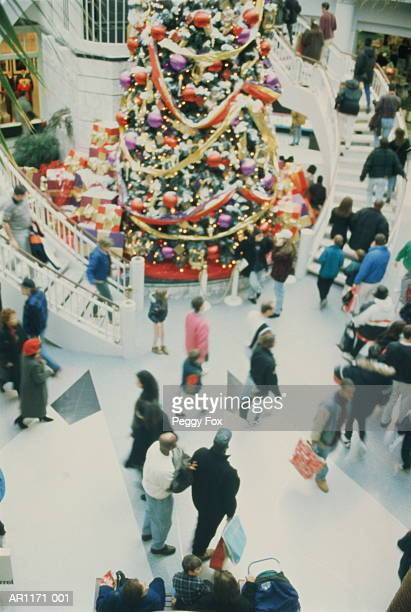 Shopping mall interior with Christmas tree and shoppers