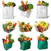 Full shopping basket and bags, isolated over white background