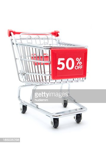 Shopping Sale - 50% Discount with Shopping Cart isolated on white