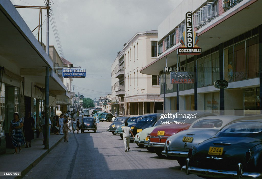A Shopping Street In Barranquilla Colombia South America Circa 1960