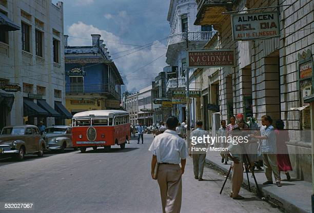 A shopping street in Barranquilla Colombia South America circa 1965