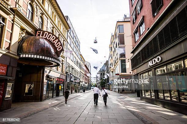 Shopping street in Oslo, Norway