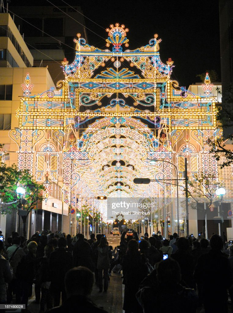 A shopping street is illuminated as a part of the 18th Kobe Luminarie on December 3, 2012 in Kobe, Hyogo, Japan. The annual illumination event, begun in 1995 to commemorate the victims of Hanshin Awaji Great Earthquake, will be taken place from December 6 to 17 this year.