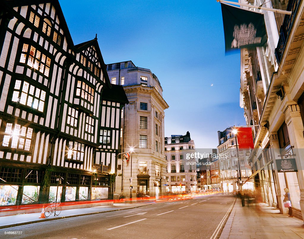 Shopping streets of London at dusk