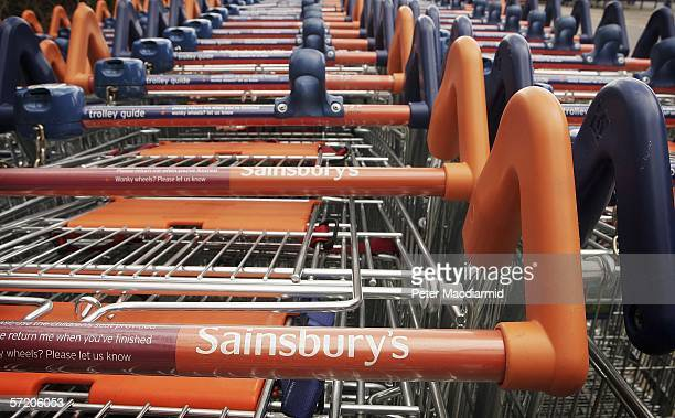 Shopping trolleys are seen at Sainsbury's in Cobham on March 29 2006 in Surrey England Sainsbury's has posted better than expected sales increases...