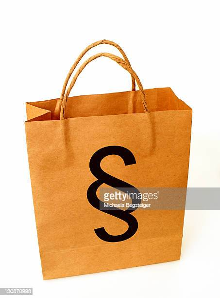 Shopping|bag with paragraph, symbolic for consumer protection