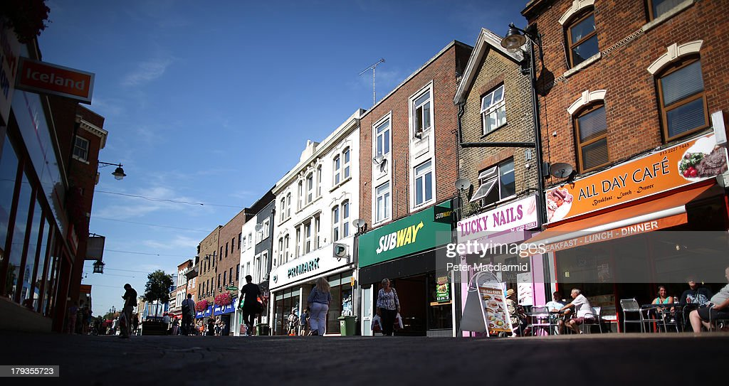 Shops and restaurants in the High Street on September 2, 2013 in Dartford, England. High Street campaigner Mary Portas is today facing questions from Members of Parliament on the communities and local government select committee. The traditional high street is under increasing pressure due to the recession and the rise of on-line shopping.