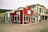 Shops at a street corner, Skagway, Alaska, USA