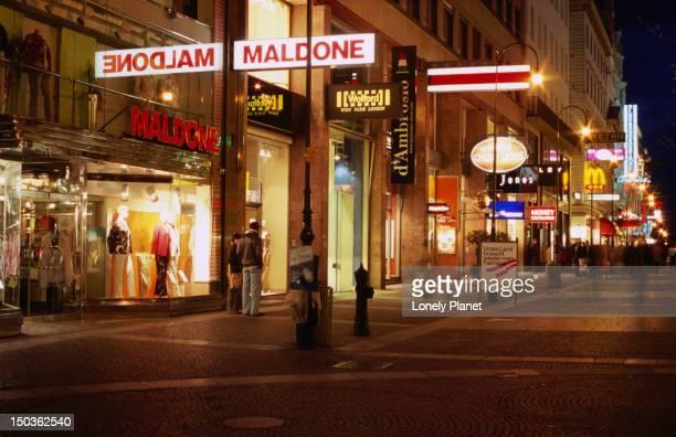 Shops at night in Karntnerstrasse, Innere Stadt.