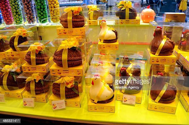 Shops get ready for 'Easter' and chocolates shaped eggs and rabbits made from chocolates placed on showcases in Brussels Belgium on April 17 2014
