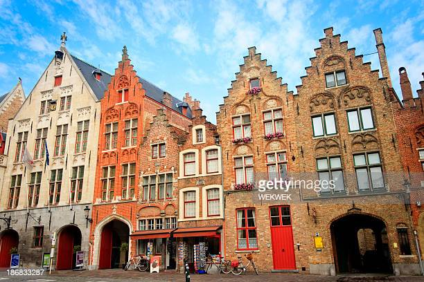 Shops housed in typical medieval buildings, Bruges