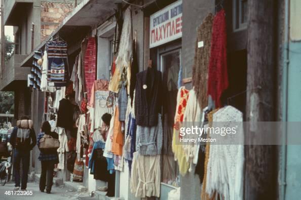 Shops in Heraklion or Iraklion on the island of Crete Greece circa 1960