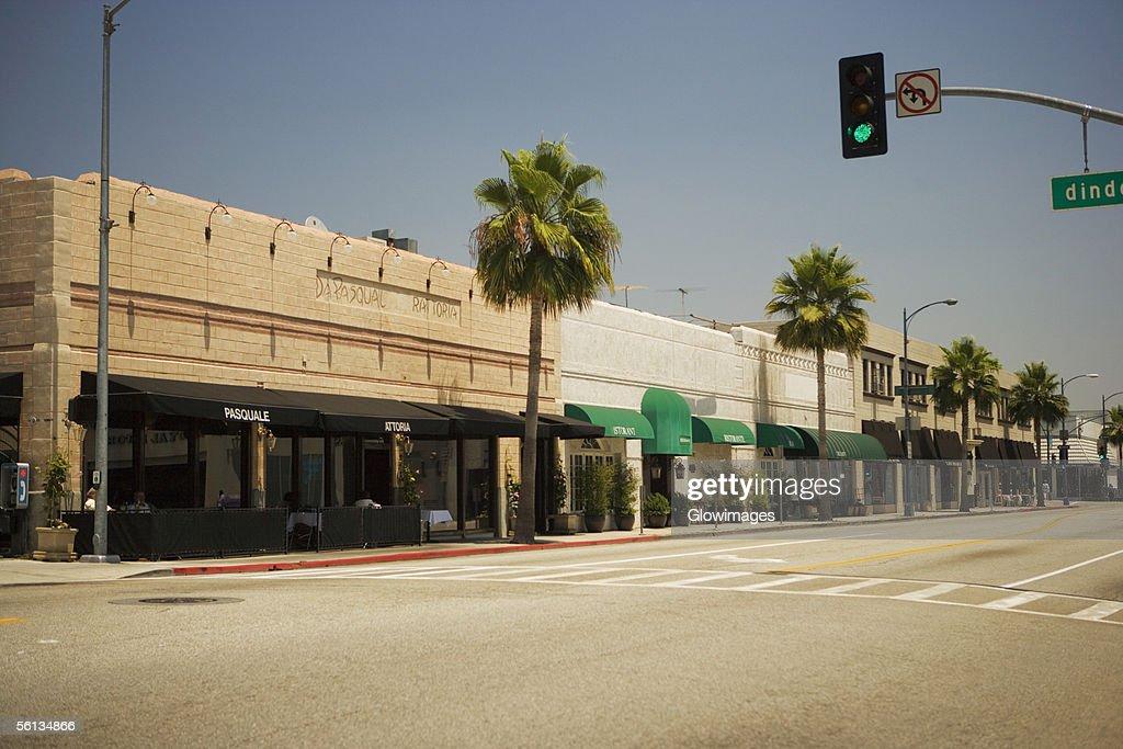 Shops lining a sidewalk, Rodeo Drive, Los Angeles, California, USA