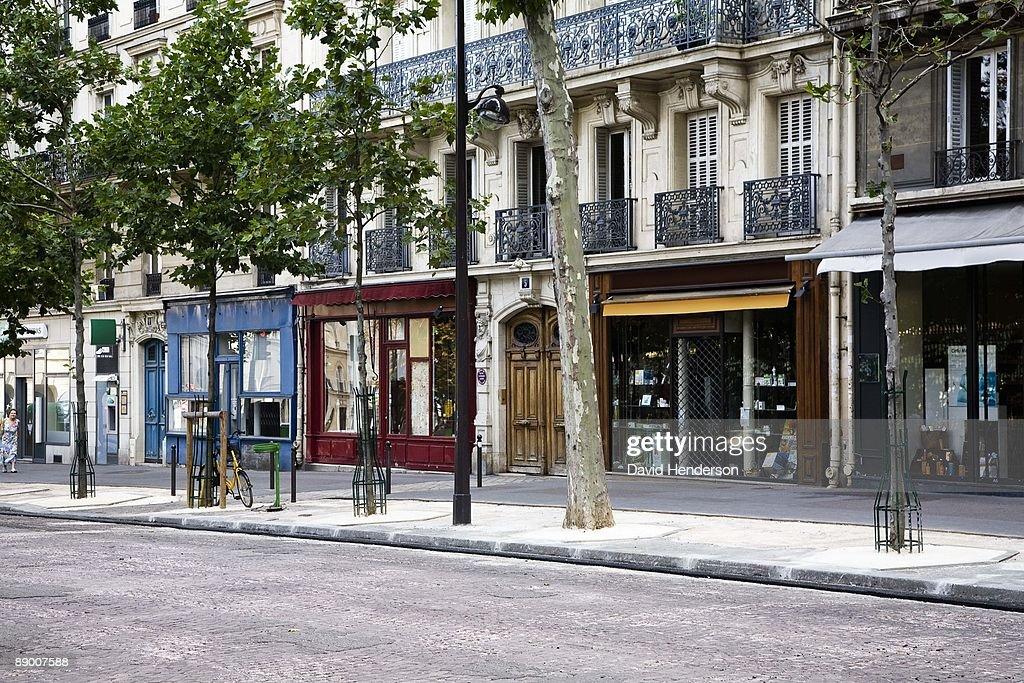 Shops on Boulevard Saint-Michel, Paris, France : Stock Photo