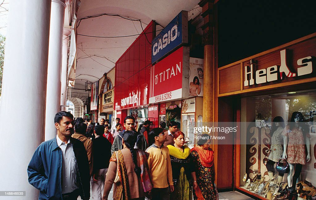 Shops on Inner Circle at Connaught Place, central Delhi. : Stock Photo