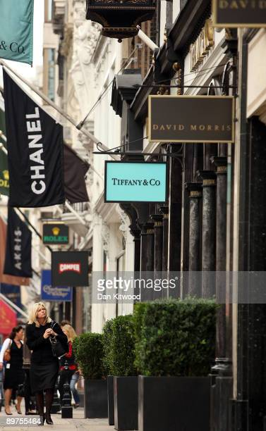 Shops open back up for business in New Bond Street on August 12 2009 in London England Nearly 40 million GBP worth of items were stolen from the...