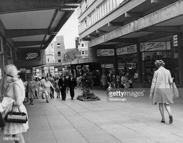 Shops such as Boots Currys and Zodiac in the new Friars Square Shopping Centre in Aylesbury Buckinghamshire 3rd September 1970
