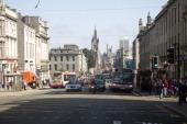 Shops traffic people Union Street Aberdeen Scotland