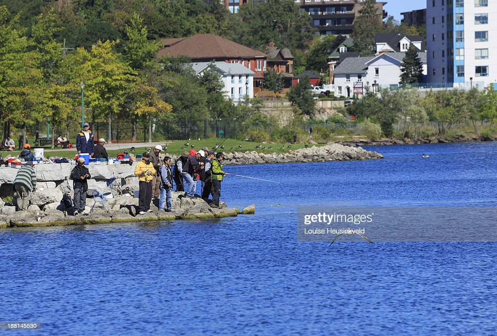 Shore fishing on lake simcoe stock photo getty images for Lake simcoe fishing