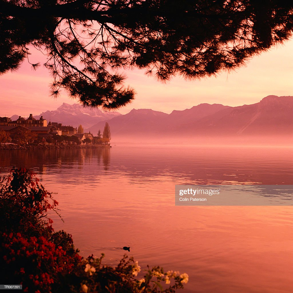 Shore of Lake Geneva in Montreux, Switzerland