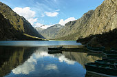 Shore of Llanganuco Chinancocha lake in the Cordillera Blanca in the Andes of Peru.