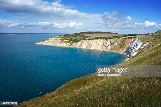 Shoreline of the Needles Headland and Tennyson Down, England