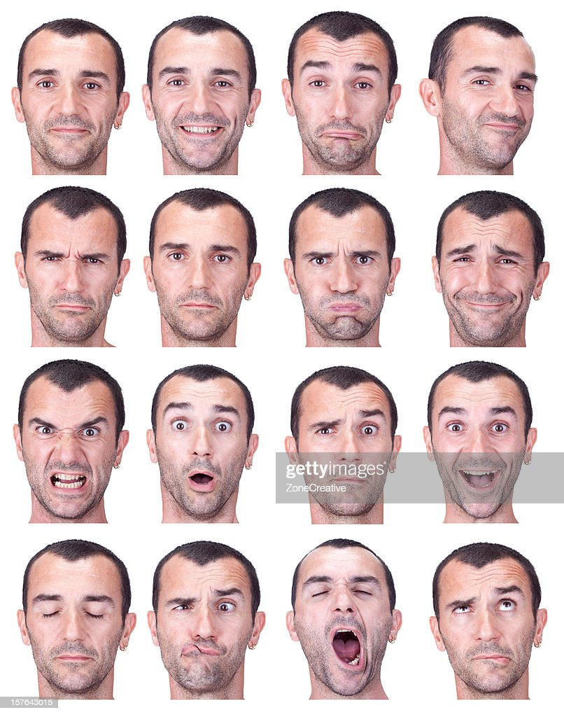 short haired man expression set isolated on white
