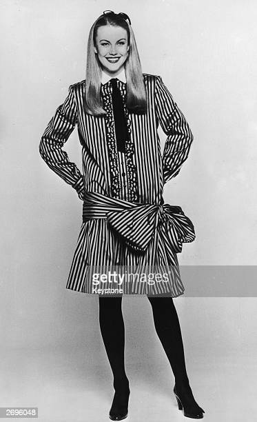 A short striped taffeta dress by Marc Bohan for the Christian Dior collection