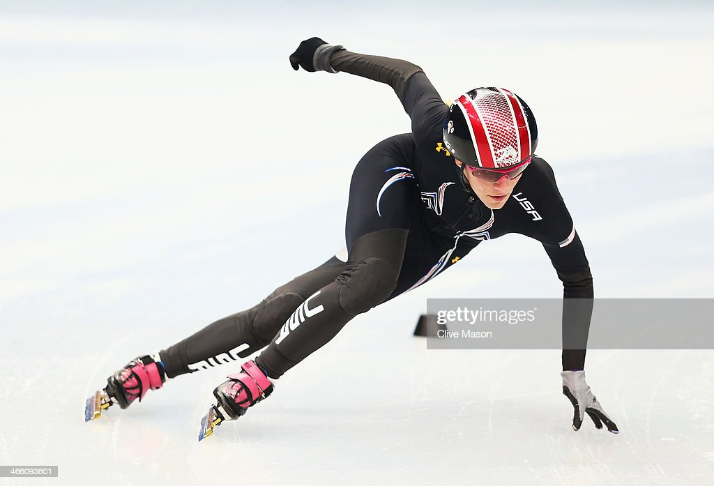 Short track skater <a gi-track='captionPersonalityLinkClicked' href=/galleries/search?phrase=Emily+Scott+-+Speed+Skater&family=editorial&specificpeople=15291931 ng-click='$event.stopPropagation()'>Emily Scott</a> of the United States practices prior to the Sochi 2014 Winter Olympics at the Iceberg Skating Palace on January 31, 2014 in Sochi, Russia.