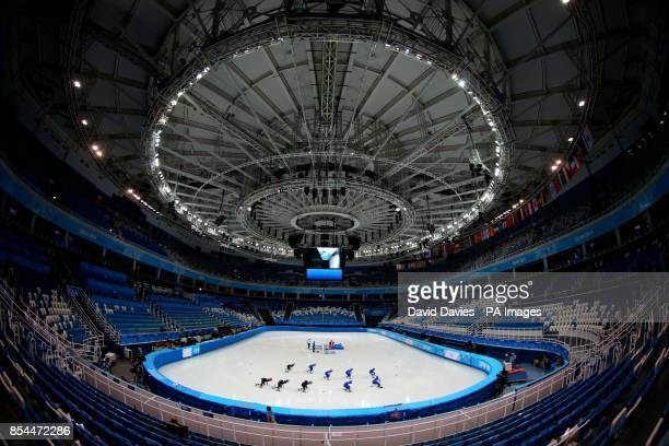 Short Track skaters practice in the Iceberg Skating Palace during the 2014 Sochi Olympic Games in Sochi Russia