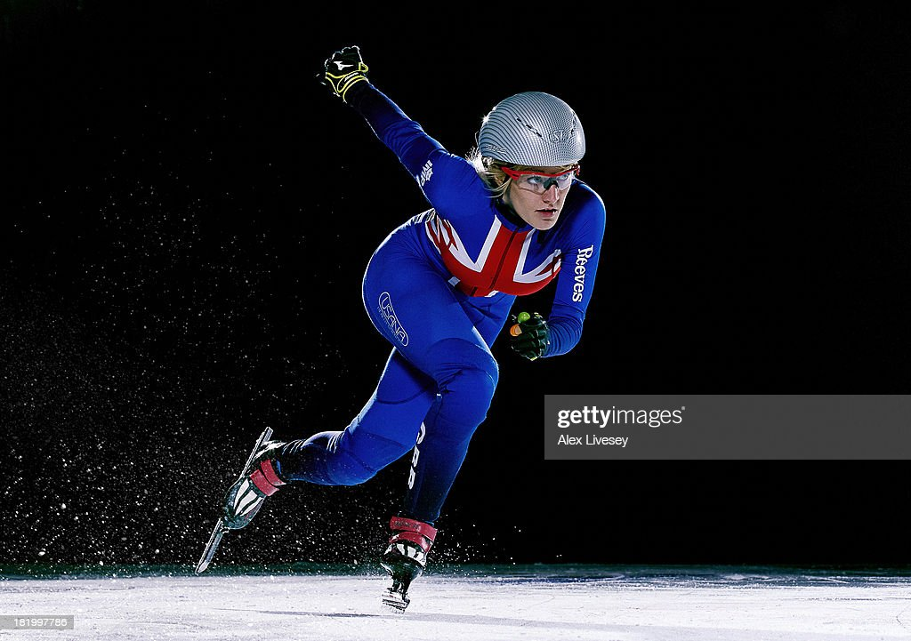 Short track speed skater for team GB, <a gi-track='captionPersonalityLinkClicked' href=/galleries/search?phrase=Elise+Christie&family=editorial&specificpeople=4113885 ng-click='$event.stopPropagation()'>Elise Christie</a> is photographed on August 7, 2013 in Nottingham, England.