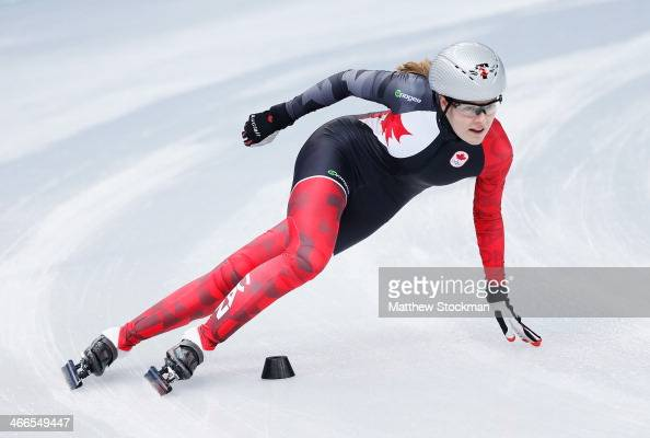Short Track speed skater Jessica Gregg of Canada takes part in a training session ahead of the Sochi 2014 Winter Olympics at Iceberg Skating Palace...