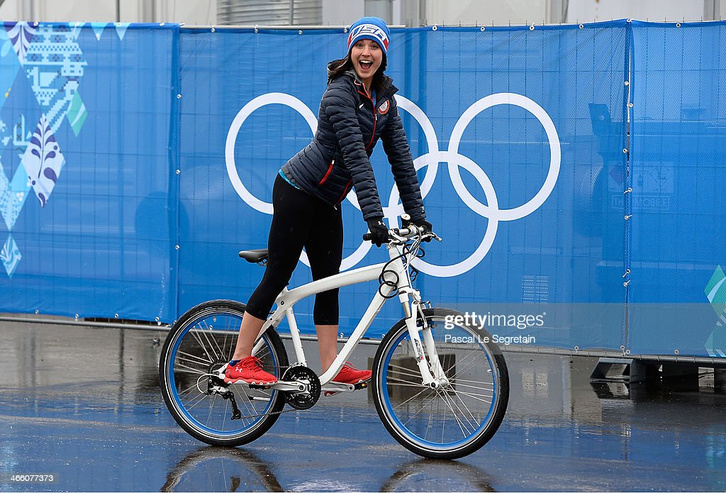 Short track speed skater<a gi-track='captionPersonalityLinkClicked' href=/galleries/search?phrase=Alyson+Dudek&family=editorial&specificpeople=5581264 ng-click='$event.stopPropagation()'>Alyson Dudek</a> of USA is seen prior to the Sochi 2014 Winter Olympics at the Olympic Village on January 31, 2014 in Sochi, Russia.
