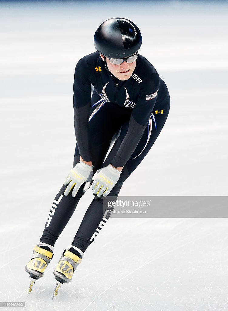 Short track speed skaters <a gi-track='captionPersonalityLinkClicked' href=/galleries/search?phrase=Alyson+Dudek&family=editorial&specificpeople=5581264 ng-click='$event.stopPropagation()'>Alyson Dudek</a> of the United States practices ahead of the Sochi 2014 Winter Olympics at Iceberg Skating Palace on February 3, 2014 in Sochi, Russia.