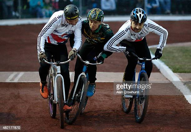 A shortage of space off the start line during the Great Britain v Australia Womens Mens Ashes Test Cycle Speedway racing on the 689 metre shale...