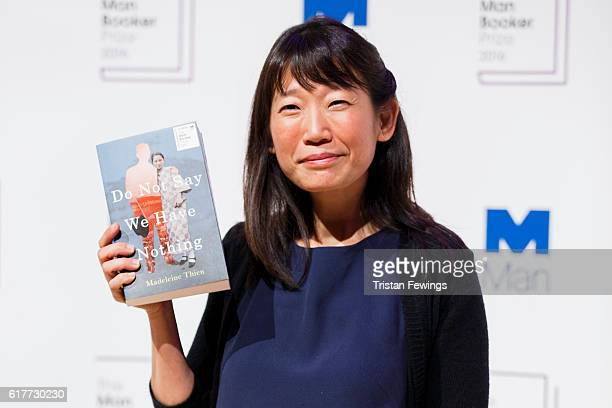 Shortlisted author Madeleine Thien attends a photocall for the 2016 Man Booker Prize for Fiction at the Royal Festival Hall on October 24 2016 in...