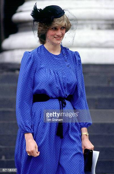 Shortly After The Birth Of Her Baby Princess Diana Still In Maternity Clothes While Attending A Service Of Commemoration At St Paul's Cathedral For...